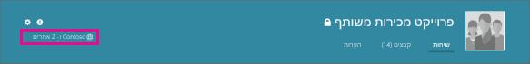 צילום מסך של כותרת עליונה בקבוצה של Yammer, עם סמל גלובוס המראה שמדובר בקבוצה חיצונית.