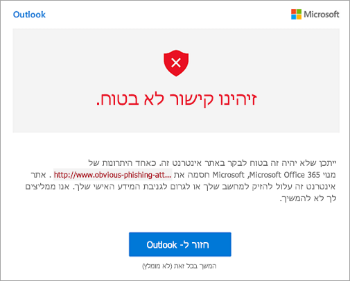 צילום מסך של המסך אזהרת קישור לא בטוחים