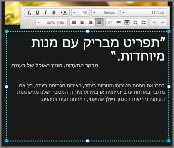 דוגמה לגוף הטקסט בעיצוב GoDaddy