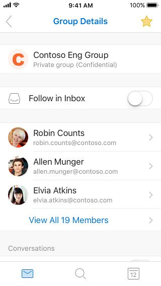 רשימת קבוצות עם הכוכב שעליו אתה מקיש כדי להוסיף למועדפים או למחוק ממועדפים