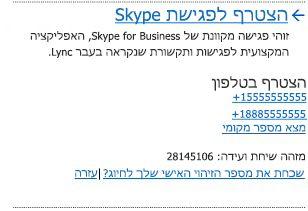 ממשק המשתמש 'הצטרף לפגישת Skype'