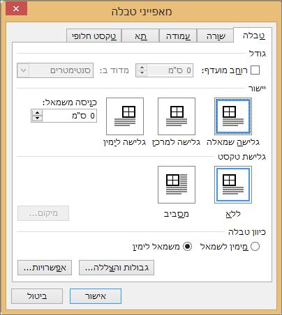 הכרטיסיה ' טבלה ' בתיבת הדו ' מאפייני טבלה '