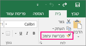 הצגת לחצן 'מברשת עיצוב' ב- Excel