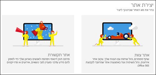בחירת סוג אתר ב- SharePoint Online