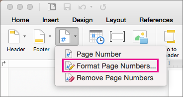 כדי לעצב את מספרי עמודים, לחץ על מספר עמוד בכרטיסיה כותרת עליונה וכותרת תחתונה ולאחר מכן לחץ על עיצוב מספרי עמודים.