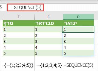 יצירת קבוע מערך אנכי עם = רצף (5), או = {1; 2; 3; 4; 5}