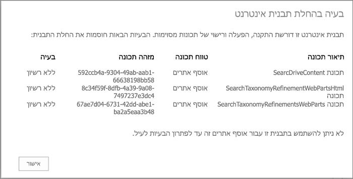 צילום מסך של הודעת שגיאה המציג שגיאה שאתה עשוי לקבל אם תכונות שאינן זמינות מונעות יצירת אתרים ב- SharePoint Online.