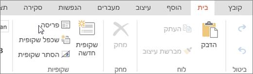 צילום מסך המציג את הכרטיסיה 'בית' כאשר הסמן מצביע על האפשרות 'פריסה' בקבוצה 'שקופיות'.