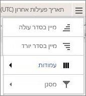 צילום מסך של אפשרויות התפריט עבור דוחות Yammer