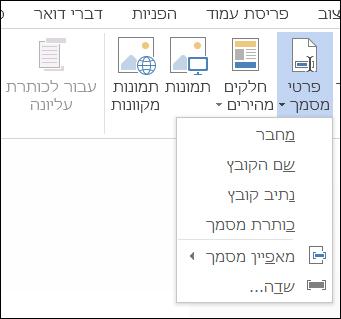התפריט 'פרטי מסמך' עבור כותרות עליונות וכותרות תחתונות