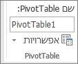 אפשרויות PivotTable ברצועת הכלים