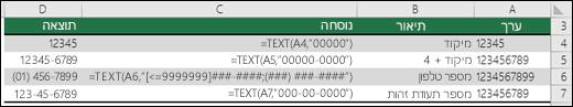 תבניות מיוחדות עבור הפונקציה TEXT