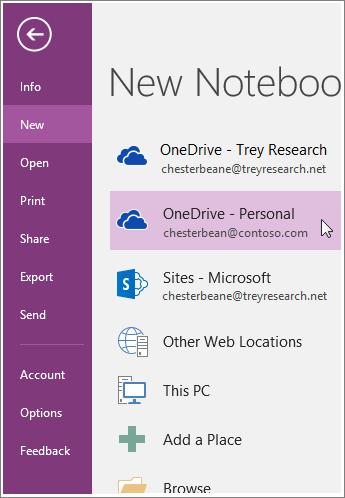 צילום מסך של אופן יצירת מחברת חדשה של OneNote.