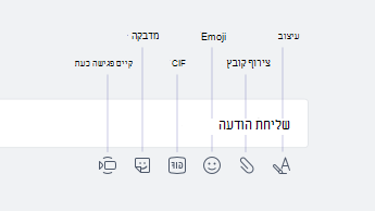 Emoji, GIF, מדבקות ואפשרויות אחרות