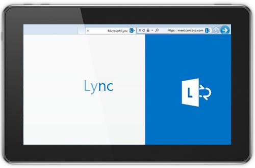 צילום מסך המציג את המסך הראשי של Lync Web App