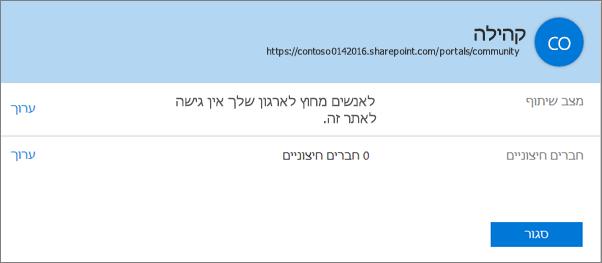 תיבת הדו-שיח 'מצב שיתוף' עבור אוסף אתרים ספציפי כשהשיתוף כבוי.
