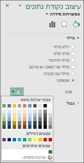 אפשרויות צבע תרשים של ' מפת Excel ' עבור תרשימי קטגוריות