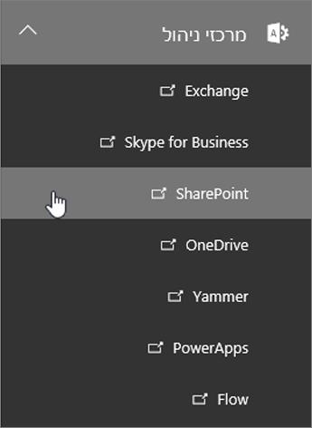 רשימה של מרכזי ניהול עבור Office 365, כולל SharePoint.