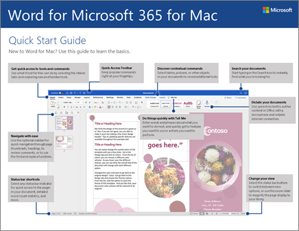 מדריך ההתחלה המהירה של Word 2016 for Mac