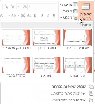 פריסות של שקופית חדשה ב- PowerPoint.