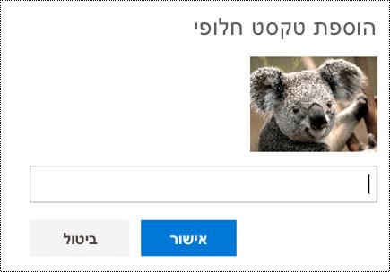 הוסף טקסט חלופי לתמונות ב- Outlook באינטרנט.