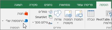 בכרטיסיה 'הוספה' ברצועת הכלים, תמצא את הקבוצה 'תוספות' לניהול תוספות של Excel
