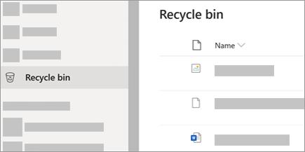 צילום מסך המציג את הכרטיסיה 'סל המיחזור' ב- OneDrive.com.