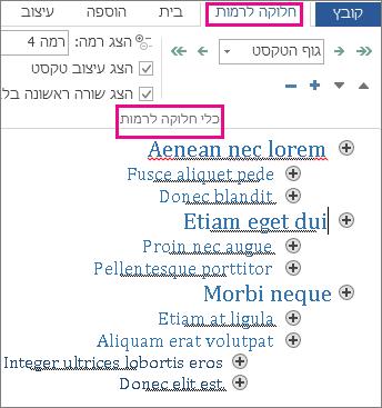 תמונה של חלק מכלי החלוקה לרמות בתפריט 'חלוקה לרמות' עם דוגמת חלוקה לרמות בטקסט lorem ipsum