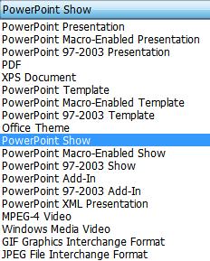 שמור את המצגת כ- PowerPoint Show.
