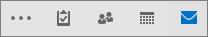 הסרגל לגישה מהירה ב- Outlook מציג את סמלי האפשרויות 'דואר', 'לוח שנה', 'אנשים', 'משימות' ו'עוד'