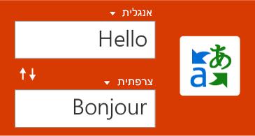 לחצן 'מתרגם', ומילה אחת באנגלית והתרגום שלה לצרפתית