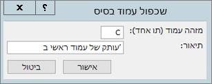 צילום מסך מציג את תיבת הדו-שיח שכפול עמוד בסיס.