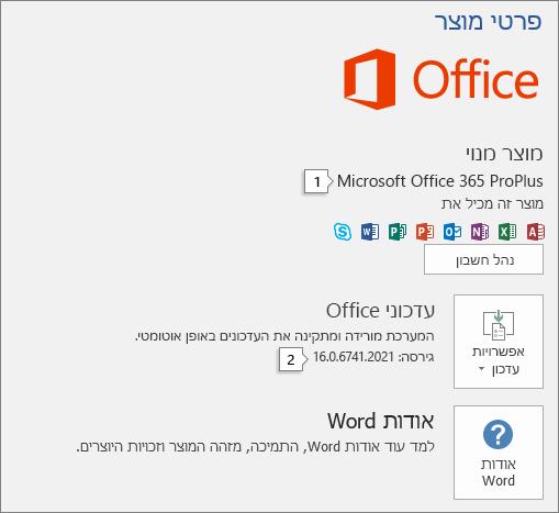 צילום מסך של העמוד 'חשבון' המציג את שם מוצר Office ואת מספר הגירסה המלא