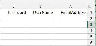 כותרות תא בקובץ ההעברה של Excel.