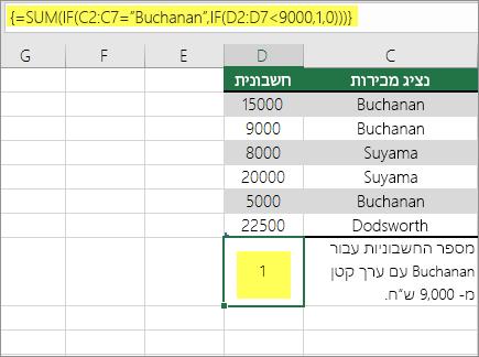דוגמה 3: הפונקציות SUM ו- IF מקוננות בנוסחה