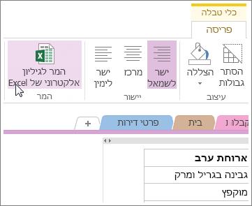 המרת עמוד OneNote לגיליון אלקטרוני של Excel