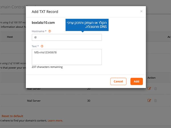 הקלד או הדבק את הערכים DSN בדף הוסף רשומת TXT