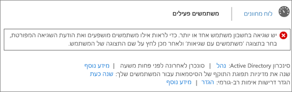 הצהרה על שגיאת סינכרון מדריכי כתובות בחלק העליון של הדף 'משתמשים פעילים'