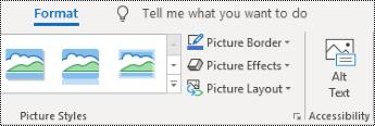 לחצן ' טקסט חלופי ' ברצועת הכלים של Outlook ב-Windows.