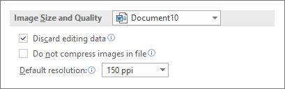 הגדרת גודל ואיכות של תמונה