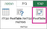 לחצן PivotTable בכרטיסיה 'הוספה'