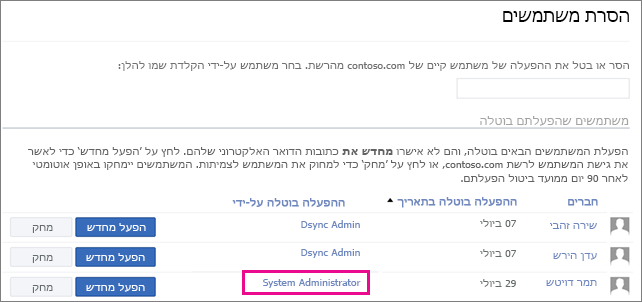 צילום מסך המציג משתמש שהוסר על-ידי מנהל המערכת.