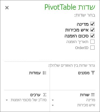 רשימת שדות של PivotTable