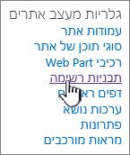 הקישור ' תבניות רשימה ' בדף ' הגדרות האתר '