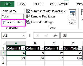 שימוש באפשרות שינוי גודל הטבלה דרך כלי הטבלה