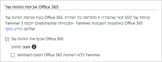 צילום מסך של בלוק משתמשי Office 365 מבלי תיבת הסימון רשיונות Yammer בהגדרות האבטחה של Yammer