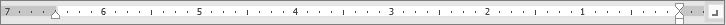 בבורר הטאב, בחר אחת משבע כרטיסיות -- לשמאל, למרכז, לימין, עשרוני, קו, כניסת שורה ראשונה, כניסה תלויה -- להגדרה בסרגל.