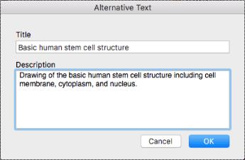 תיבת הדו ' טקסט חלופי ' עבור OneNote ב-Mac.