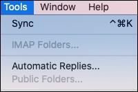 תפריט ' כלי Apple ' הוא המקום שבו מאותרות הגדרות התשובות האוטומטיות עבור Outlook.