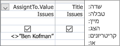 רשת עיצוב שאילתה עם. תבנית ערך עבור שדה בדיקת מידע